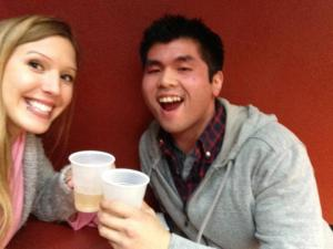 Drinking Fireball out of water cups at Jack in the Box on Geary St in San Francisco . . . classy
