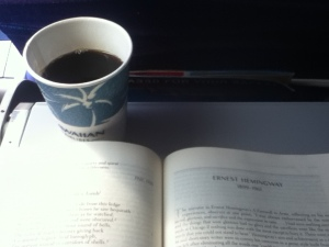Drinking black coffee while reading some Hemingway