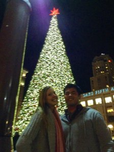 In front of that giant xmas tree in SF