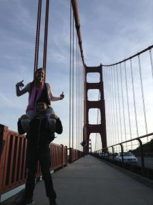lifting chicks up on the Golden Gate Bridge